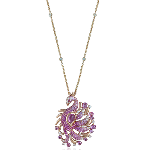 Pink Peacock Necklace
