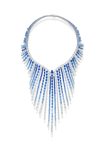 Sterling Diamond & Sapphire Studded Necklace