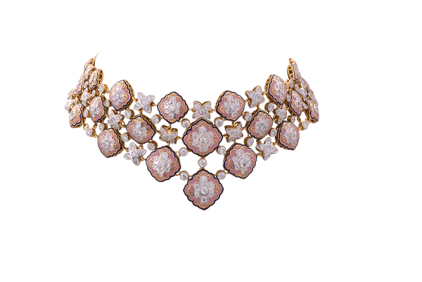 The Pink Enamel Diamond Studded Choker.