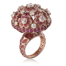Pink Enamel Flower Ring With Diamond Studded.
