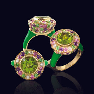 Green Ceramic Enamel Studded Ring