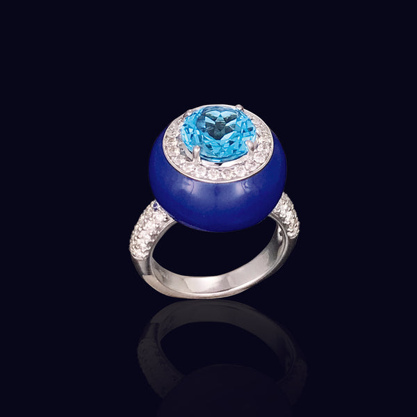 Blue Ceramic Enamel Ring