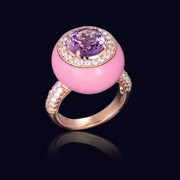 Pink Ceramic Enamel Ring