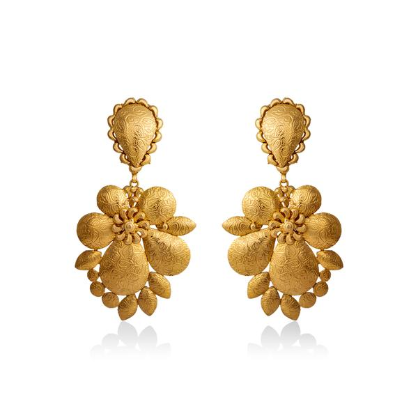 Textured Gold Earrings In Yellow Gold.