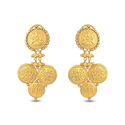 Temple inspired Earrings In Yellow Gold.