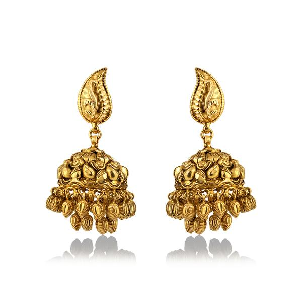 Contemporary Gold Jhumkas in Yellow Gold.