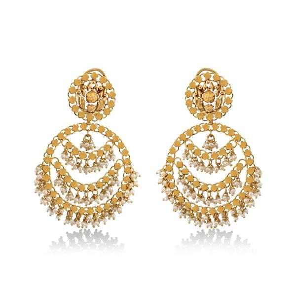 Elegant Gold & Pearls Chandbali.