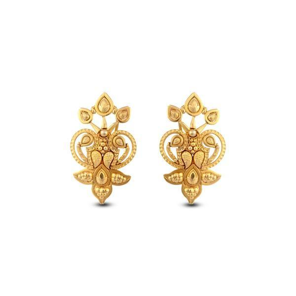 Classic Leaf Motif Earrings In Yellow Gold.