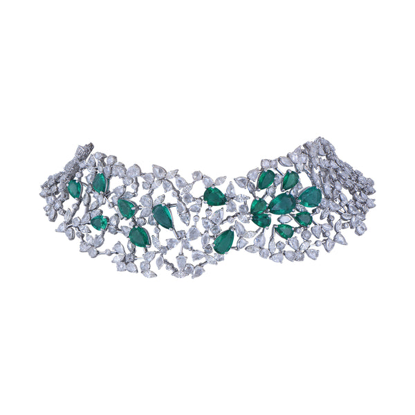 Diamond Necklace With Studded Emerald.