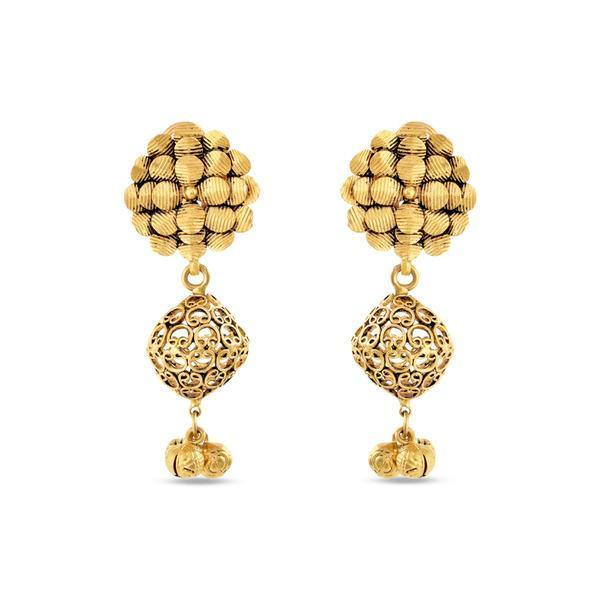 Wired Ethnic Danglers In Yellow Gold