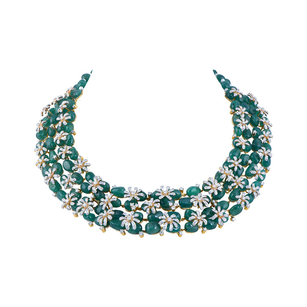 Diamond Necklace With Studded Emerald Beads And Pearls.