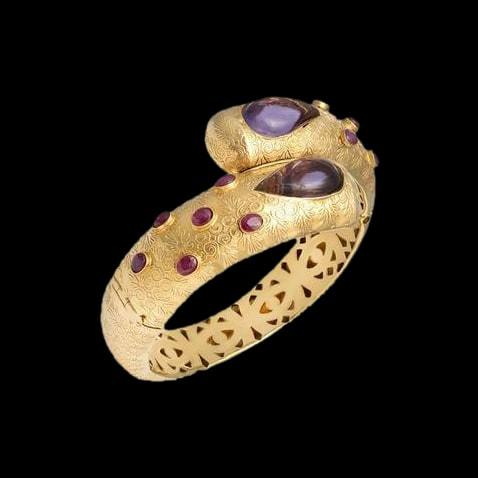 Ruby Studded Gold Kada
