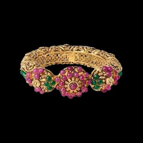 Classic Gold Bangles Studded With Ruby