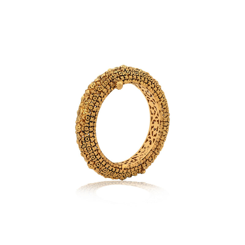 Floral Yellow Gold Bangle