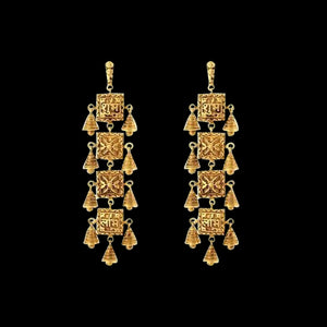 Temple inspired Danglers In Yellow Gold
