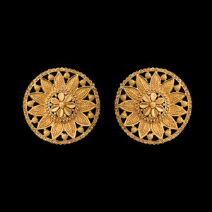 Filigree Disc Earring in Yellow Gold.