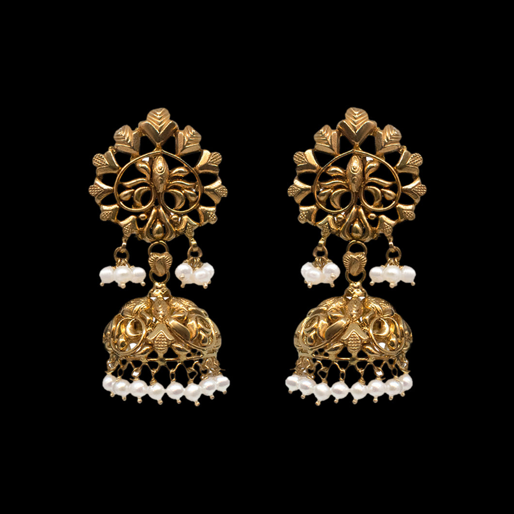 Contemporary Pearl Jhumka In Yellow Gold.