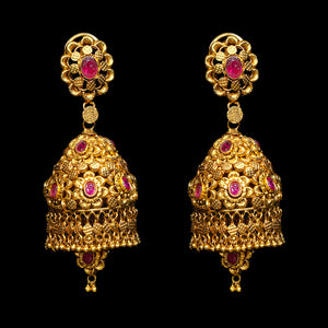Contemporary Gold & Ruby Earrings in Yellow Gold.