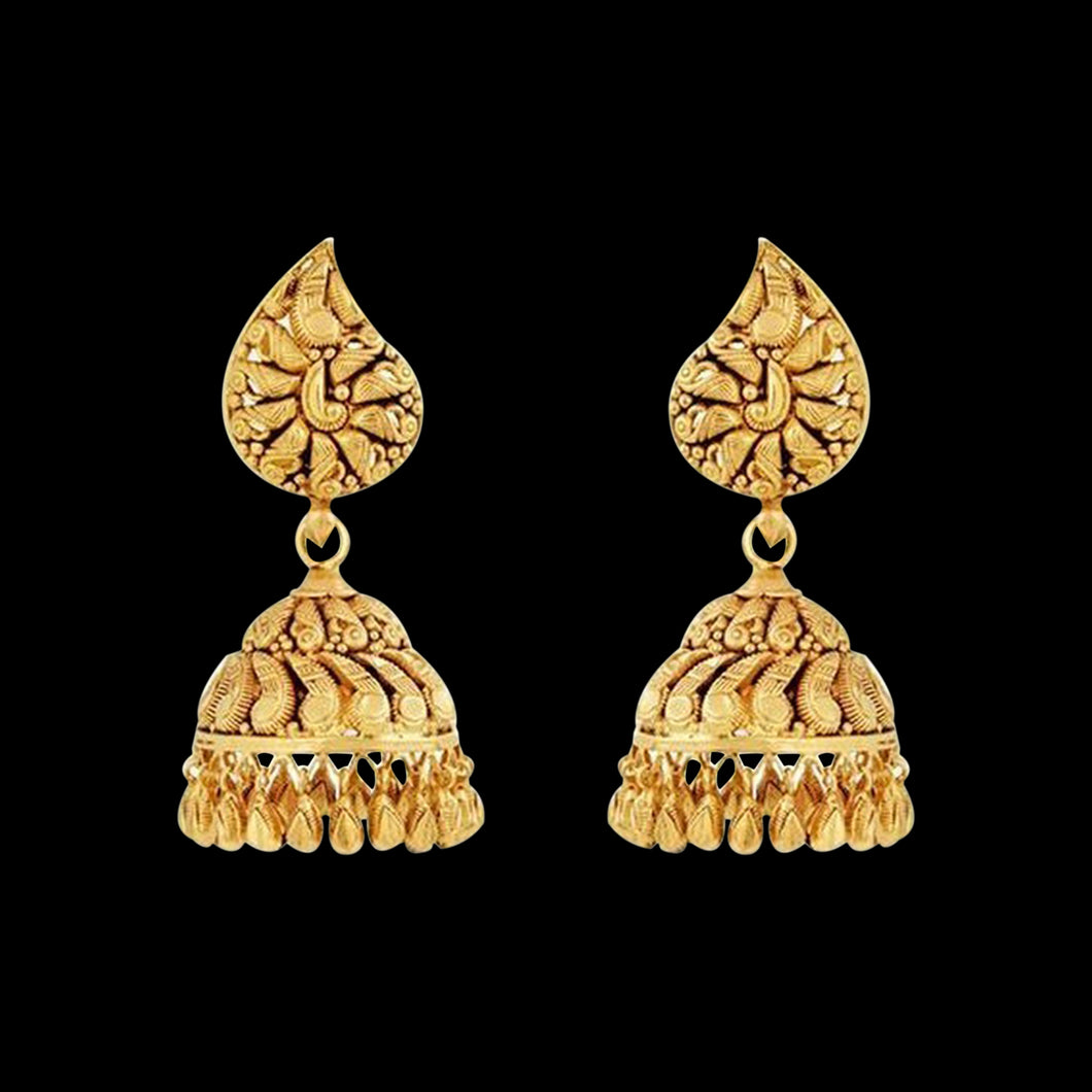 Ethnic Jhumka In Yellow Gold.