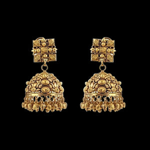 Ethnic Gold Jhumkas in Yellow Gold.