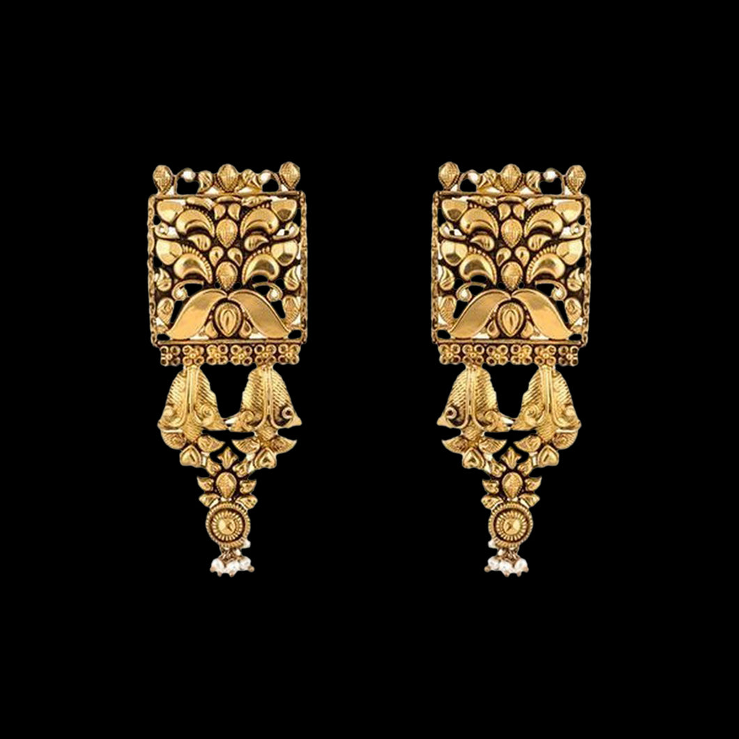 Ethnic Gold Danglers In Yellow Gold