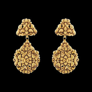 Frosted Gold Leaf Filigree Earrings in Yellow Gold.