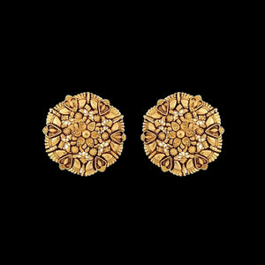 Persian Miniature Painting inspired Studs in Yellow Gold.