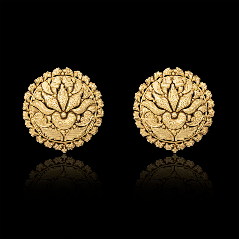 PERSIAN MINIATURE PAINTING INSPIRED STUDS IN YELLOW GOLD