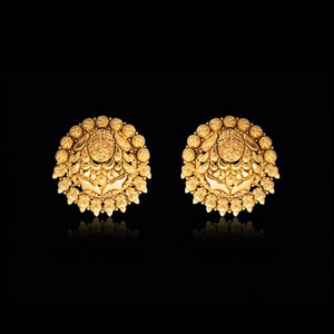Persian Miniature Painting Inspired Earring In Yellow Gold.