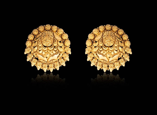 Persian Miniture Painting inspired studs in yellow gold