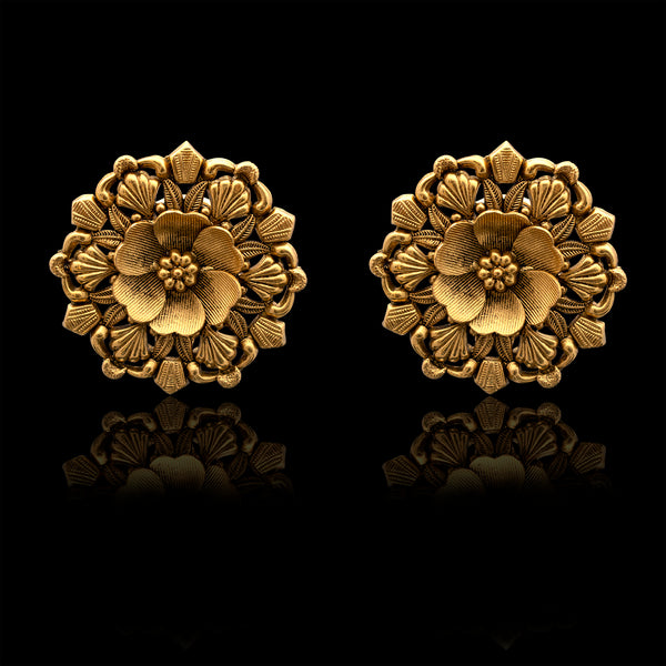Blossom Textured Studs in Yellow Gold