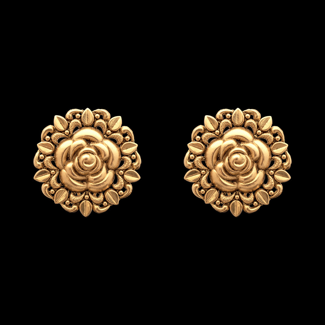 Floral Studs in Yellow Gold