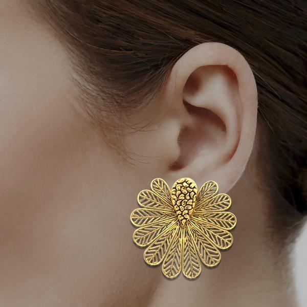 Butterfly Inspired Studs In Yellow Gold.