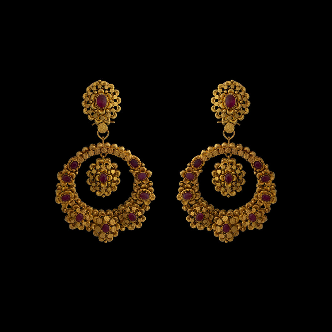 Traditional Ruby Studded Chandbali In Yellow Gold.