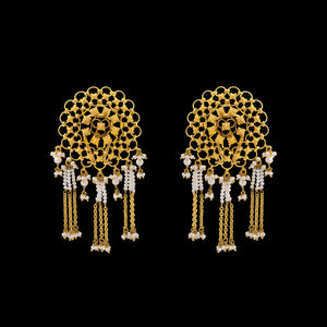 Floral Gold Earrings With Pearls