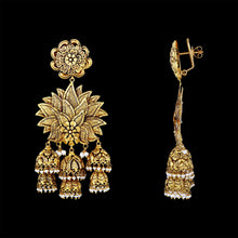 Exceptional Gold triple Jhumka Chandelier earrings