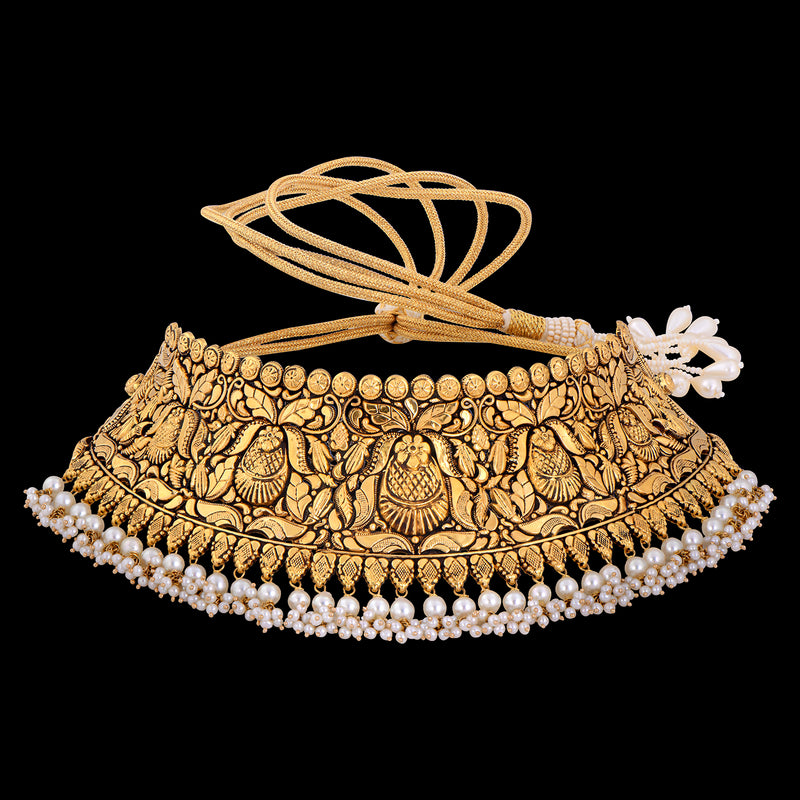 Gold Choker Studded With Pearls