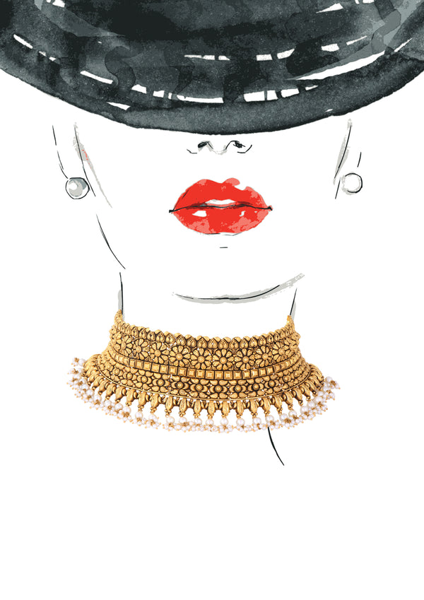 Pearls Studded Gold Choker