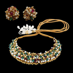 Classic Multi stone Studded Gold Necklace Set