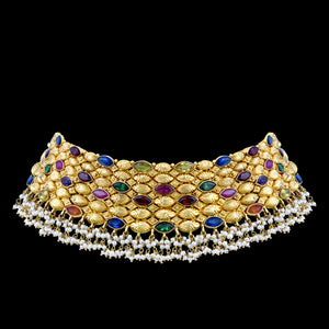 Gold Choker With Multi Stones & Pearls