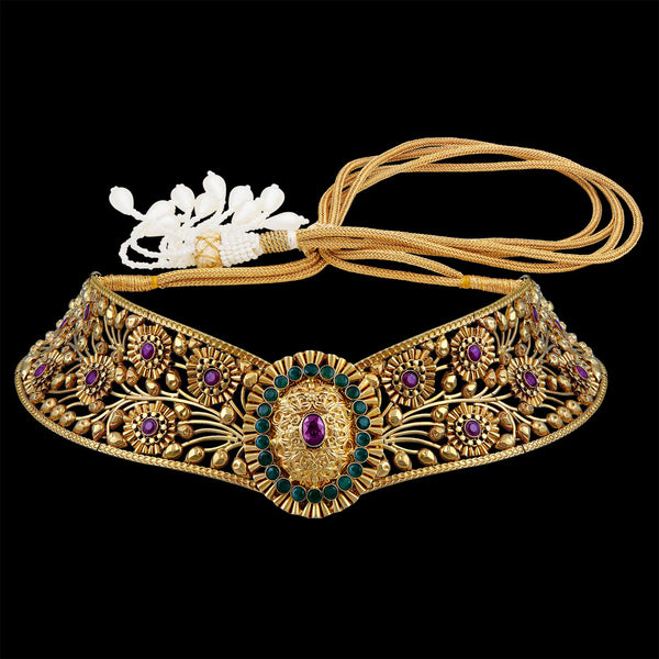 Gorgeous Gold Choker Studded With Emerald  And Rubies