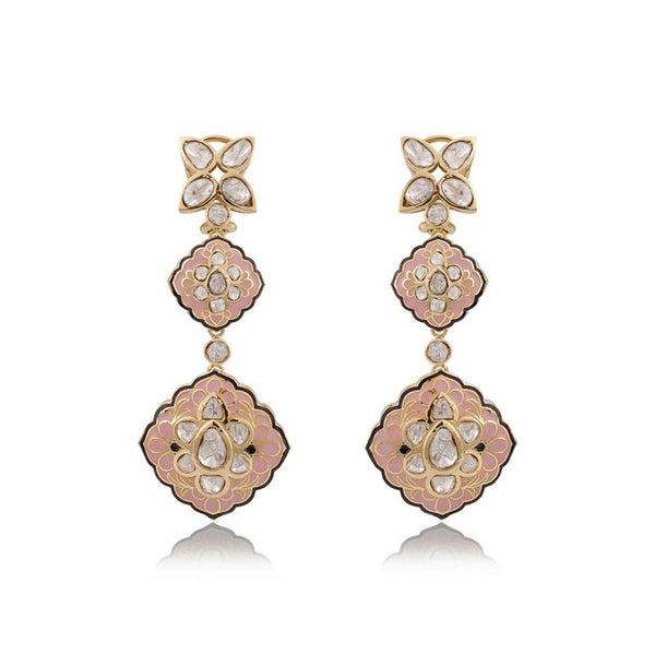One Pair Nuvo Polki Studded Earring With Pink Enamel.