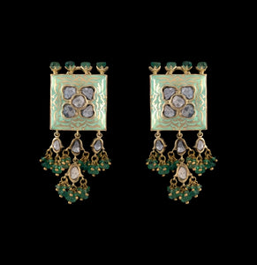 Nuvo Polki Studs with Emerald & Green Enamel