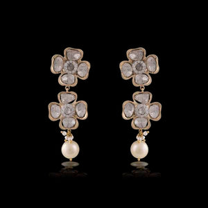 Nuvo Polki Earring Pair with Diamond & Pearls.