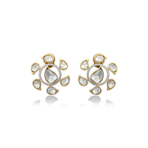 Nuvo Polki Wheel Shape Studs with Diamond.