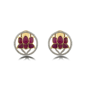 Lotus Studs with Red Stone & Diamond.