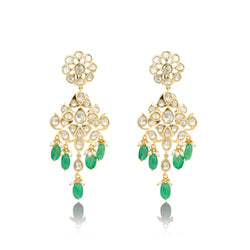 Nuvo Polki Danglers with Emerald & Pearls.