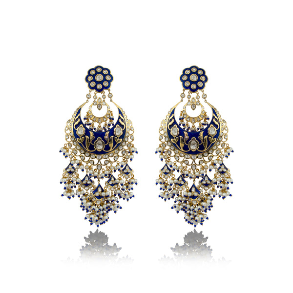 Nuvo Polki & Pearls Studded Big Chandbali with Blue Enamel.