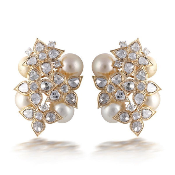 Nuvo Polki Big Studs with Diamond & Pearls.