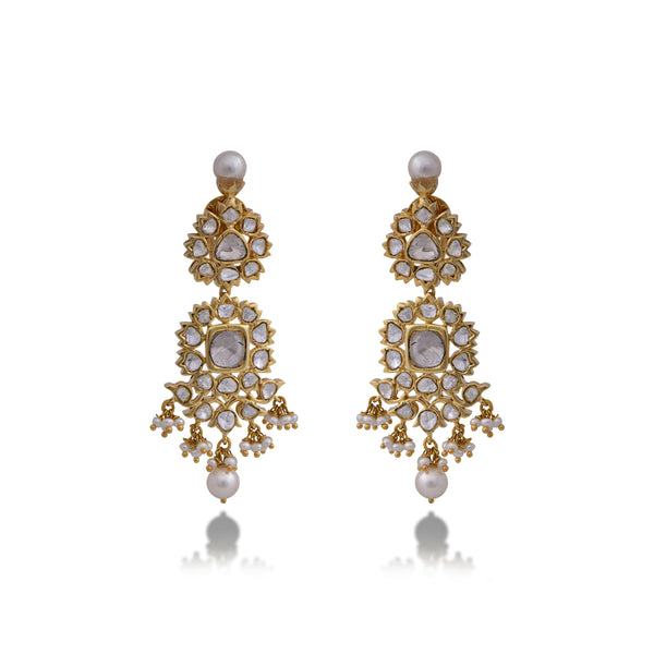 Nuvo Polki with Pearls Earring Pair